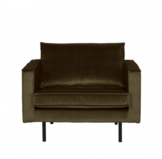 Be Pure Home - Rodeo velvet loungestol - Dark green hunter